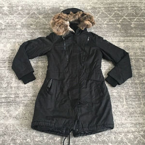 1 Madison Winter Long Coat S Faux Fur Hood Parka